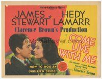 7s041 COME LIVE WITH ME TC '41 James Stewart shows how to woo sexy unkissed bride Hedy Lamarr!