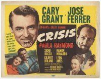 7s044 CRISIS TC '50 great headshot of Cary Grant, plus Paula Raymond & Jose Ferrer!