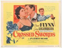 7s046 CROSSED SWORDS TC '53 art of Errol Flynn & sexy Gina Lollobrigida, Italy's Marilyn Monroe!