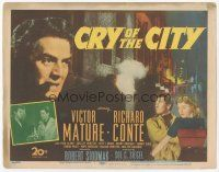 7s047 CRY OF THE CITY TC '48 film noir, cool c/u of Victor Mature, Richard Conte, Shelley Winters