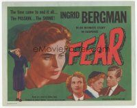 7s056 FEAR TC '54 close up of Ingrid Bergman, Roberto Rossellini's La Paura!