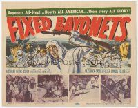 7s058 FIXED BAYONETS TC '51 Samuel Fuller, Richard Basehart, Gene Evans, cool art of Korean War!