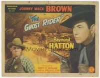 7s071 GHOST RIDER TC '43 close up of Johnny Mack Brown with gun & sheriff Raymond Hatton!