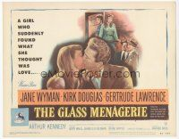 7s073 GLASS MENAGERIE TC '50 Jane Wyman thinks she loves Kirk Douglas, Tennessee Williams!