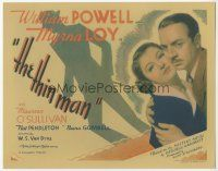 7s011 THIN MAN TC '34 close up of William Powell holding Myrna Loy + cool shadow artwork!