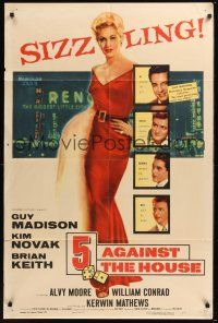 8e004 5 AGAINST THE HOUSE 1sh '55 great art of super sexy Kim Novak in Reno Nevada!