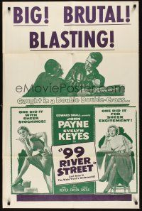 8e010 99 RIVER STREET 1sh R50s John Payne with sexy double-crossing Evelyn Keyes & Peggie Castle!