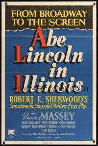 8e011 ABE LINCOLN IN ILLINOIS 1sh '40 Raymond Massey as Abraham Lincoln!