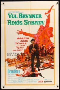 8e016 ADIOS SABATA 1sh '71 Yul Brynner aims to kill, and his gun does the rest, cool art!