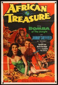 8e018 AFRICAN TREASURE 1sh '52 Johnny Sheffield as Bomba of the Jungle, Laurette Luez!