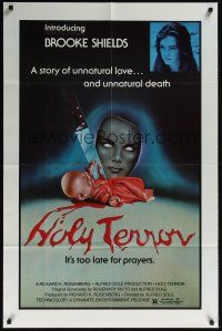 8e022 ALICE SWEET ALICE 1sh R81 first Brooke Shields, disturbing knife-in-doll image, Holy Terror!