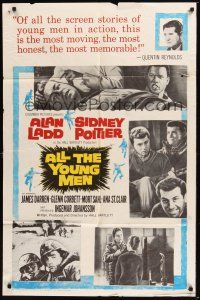 8e029 ALL THE YOUNG MEN 1sh '60 Alan Ladd & Sidney Poitier deal with race relations in Korean War!