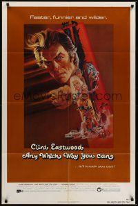 8e038 ANY WHICH WAY YOU CAN 1sh '80 cool artwork of Clint Eastwood & Clyde by Bob Peak!