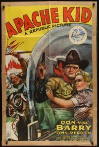 8e041 APACHE KID 1sh '41 art of Don Red Barry & Lynn Merrick on stagecoach chased by Indian!