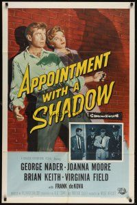 8e042 APPOINTMENT WITH A SHADOW 1sh '58 cool noir artwork of silhouette pointing gun at stars!