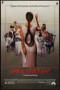 8e043 APRIL FOOLS DAY 1sh '86 wacky horror, great image of girl with knife & noose hair!