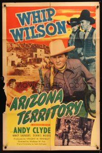 8e044 ARIZONA TERRITORY 1sh '50 cool image of cowboy Whip Wilson, Andy Clyde