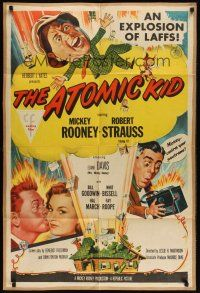 8e049 ATOMIC KID 1sh '55 wacky art of nuclear Mickey Rooney, an explosion of laffs!