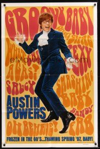 8e051 AUSTIN POWERS: INT'L MAN OF MYSTERY teaser DS 1sh '97 Mike Myers is frozen in the 60s!