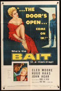 8e056 BAIT 1sh '54 the door's always open to sexy bad girl Cleo Moore's room, come on in!