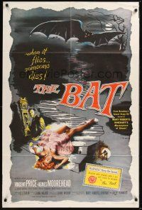 8e061 BAT 1sh '59 great art of Vincent Price & sexy fallen girl, when it flies, someone dies!