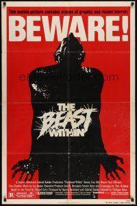 8e065 BEAST WITHIN revised 1sh '82 BEWARE! This motion picture contains graphic and violent horror!