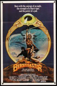 8e066 BEASTMASTER int'l 1sh '82 cool fantasy art of barechested Marc Singer & sexy Tanya Roberts!