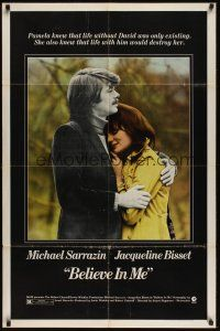 8e071 BELIEVE IN ME 1sh '71 close up of Michael Sarrazin holding Jacqueline Bisset!
