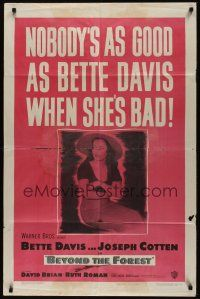 8e078 BEYOND THE FOREST 1sh '49 King Vidor, nobody's as good as Bette Davis when she's bad!