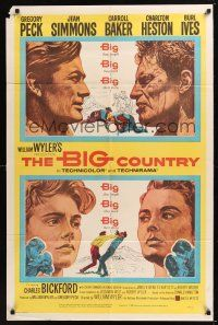 8e081 BIG COUNTRY style A 1sh '58 Gregory Peck, Charlton Heston, William Wyler classic!