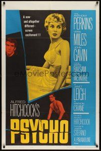 8e689 PSYCHO 1sh '60 sexy half-dressed Janet Leigh, Anthony Perkins, Alfred Hitchcock