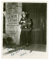 8h051 DON 'RED' BARRY signed 8x10 REPRO still '79 full-length portrait standing outside saloon!
