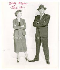 8h052 DOROTHY MCGUIRE signed 8x9.5 REPRO still '80s standing full-length with Burt Lancaster!
