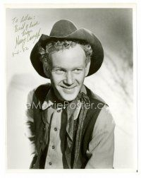 8h056 HARRY CAREY JR. signed 8x10 REPRO still '82 close up smiling portrait in cowboy costume!