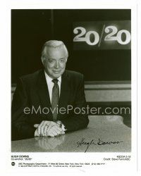 8h058 HUGH DOWNS signed 7x9 REPRO still '90s great portrait of the news anchorman at his desk!