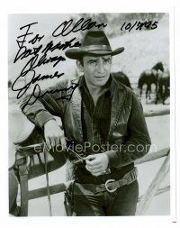 8h062 JAMES DRURY signed 8x10 REPRO still '85 great close portrait in cowboy outfit by fence!