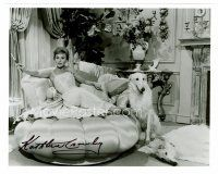 8h071 KATHLEEN CROWLEY signed 8x10 REPRO still '80s sexy smoking portrait with her two dogs!
