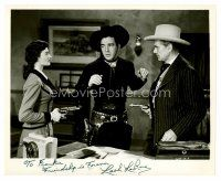 8h074 LASH LA RUE signed 8x10 REPRO still '80s c/u of the cowboy star cornered by two bad guys!