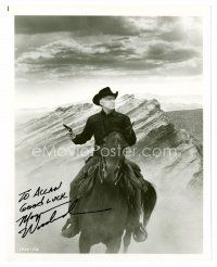 8h081 MORGAN WOODWARD signed 8x10 REPRO still '80s cool portrait in cowboy costume on horseback!