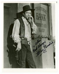 8h086 STEVE BRODIE signed 8x10 REPRO still '80s full-length smoking cowboy portrait by bank!
