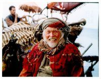 8h061 JAMES COBURN signed color 8x10 REPRO still '01 close up in costume smiling really big!