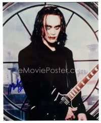8h077 MARK DACASCOS signed color 8x10 REPRO still '00s close up in costume as The Crow with guitar!