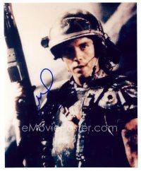 8h078 MICHAEL BIEHN signed color 8x10 REPRO still '03 close up of the star in armor with gun!