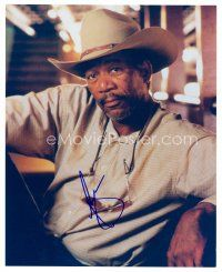 8h080 MORGAN FREEMAN signed color 8x10 REPRO still '00s close seated portrait wearing cowboy hat!