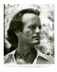8h082 PETER FONDA signed 8x10 REPRO still '00s great head & shoulders portrait with long hair!