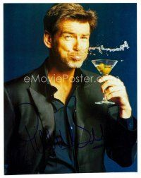 8h083 PIERCE BROSNAN signed color 8x10 REPRO still '00s wacky portrait of the star with martini!