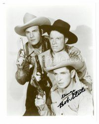 8s054 BOB STEELE signed 8x10 REPRO still '80s great cowboy portrait with the 3 Mesquiteers!