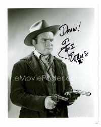 8s064 GENE EVANS signed 8x10 REPRO still '96 portrait in cowboy costume pointing two guns!
