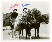 8s076 LASH LA RUE/EDDIE DEAN signed 8x10 REPRO still '80s by BOTH cowboys who are on their horses!