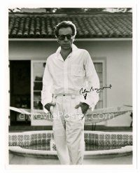 8s086 PETER BOGDANOVICH signed 8x10 REPRO still '80s full-length portrait in all white & shades!
